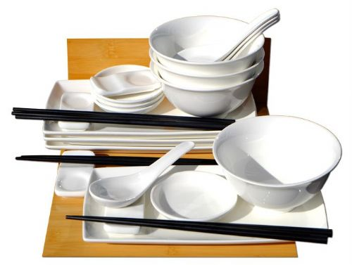 Japanese white sushi set with bowls and spoons for four